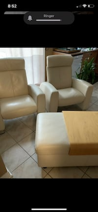Ekornes Leather reclining chairs and storage ottoman Vaughan, L4H 2C3