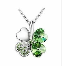 Purple and Green Clover Necklace