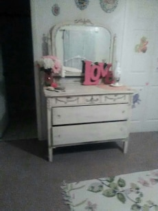 Old all wood vintage chalk painted dresser