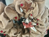 Mesh cloth christmas wreath with metal and wood attached embellishments Clayton, 48449