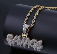 SAVAGE Necklace Brass Colored Gold chain for men / AK47 Gold color Pendent Necklace