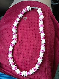 white and pink beaded necklace Anderson, 96007