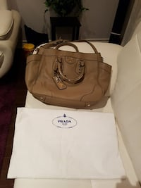 brown and white leather tote bag Oakville