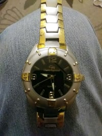 round gold-colored analog watch with link bracelet Spartanburg