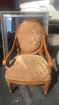 Elegant pecan and fabric chair, never used  Maitland, 32751