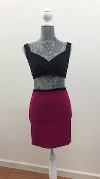 women's one piece black crop top and pink skirt