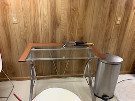 Glass & wood desk office table