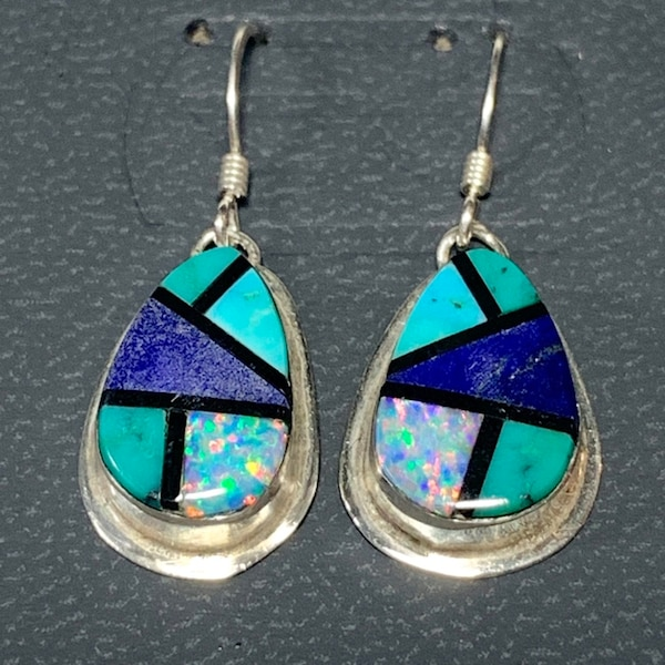 Genuine Navajo Sterling Silver Lapis Turquoise Opal Onyx Earnings a5e9819f-5735-4f0b-a8a1-ae880379dc8d