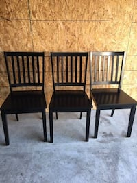 NEW, Dining Chairs, Set of 3, By Red Barrel Studio, Solid Wood, Black Columbus