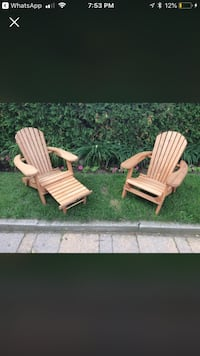 Two CHILDREN size wooden adirondack chairs