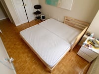 Twin size bed frame with 2 twin size mattresses  Toronto, M2R 2S7