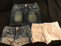 GIRLS SIZE 7 LIMITED TOO JEAN SHORTS AND SKIRT - NWOT