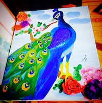 blue, green, and yellow peacock painting New York, 11373