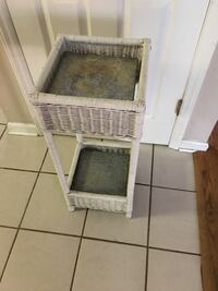 2 Tiered White Wicker Plant Stand - REDUCED