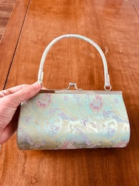 White and pink floral leather tote bag