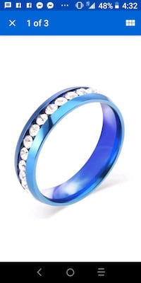 Blue Stainless Steel CZ Band Ring