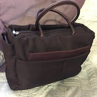 Burgundy leather and canvas handbag by Lamarthe Paris  Morongo Valley, 92256