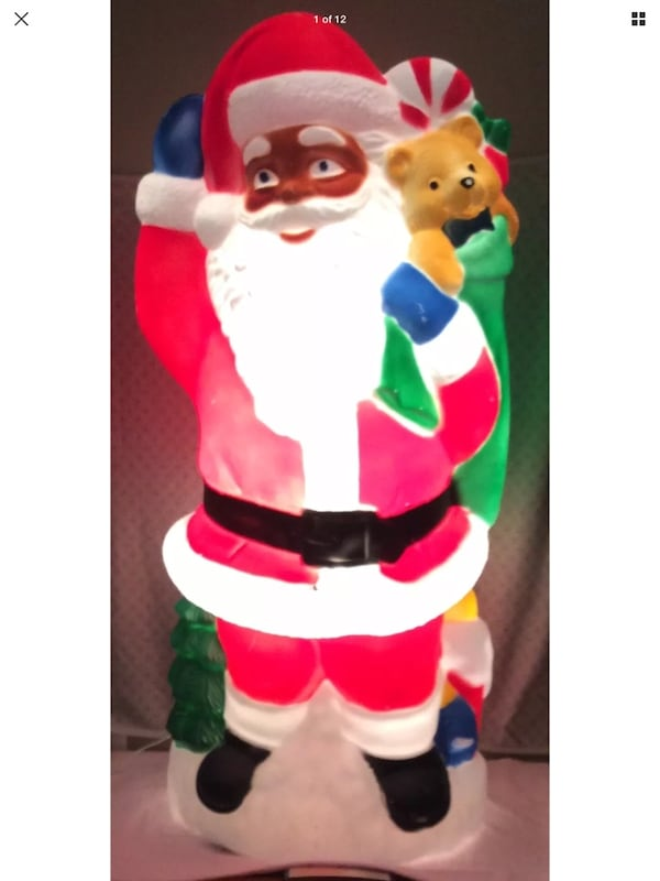 "Rare vintage TPI African American Santa lighted blow-mold 40"" a392c940-d581-4514-817a-61e457df8680"