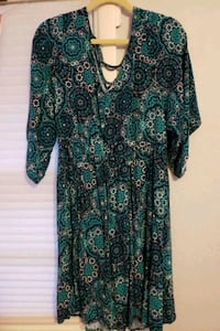 Torrid aqua print dress, flowy sleeves