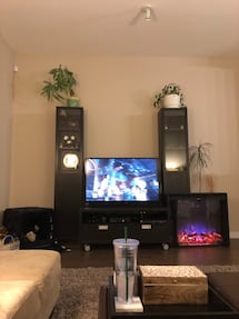 2 bookcases and tv stand