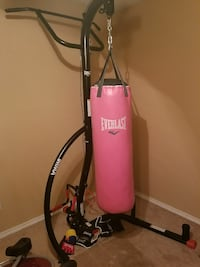 Pink everlast punching bag and stand