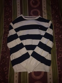 White / Navy Blue Tommy Hilfiger Sweater - LG Belleville, K8P