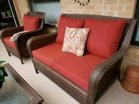 brown wicker frame red padded sofa set Silver Spring, 20906