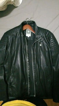 G Star black biker leather zip-up jacket Mississauga, L5A 4A3