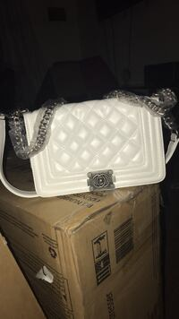 white leather quilted crossbody bag Bloomfield, 07003