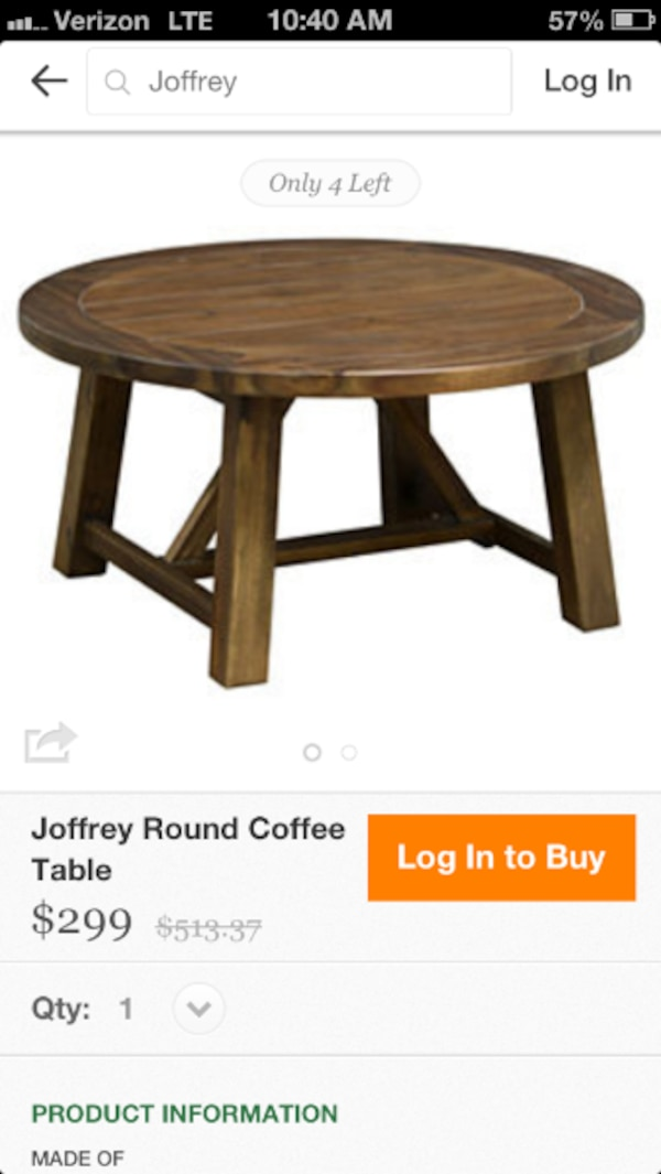 Used Round Coffee Table One Kings Lane For Sale In New York Letgo