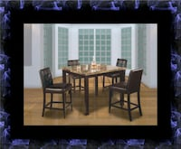 Marble tall table with 4 leather chairs Bowie, 20716