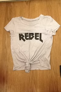 White and black rebel crew-neck t-shirt tie up never worn great condition
