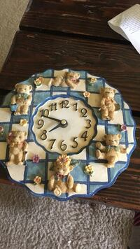 round blue and white bear wall clock Laurel, 20708