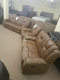 brown real leather recliner 3 piece set