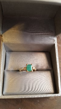 silver and green gemstone ring PALMERTON