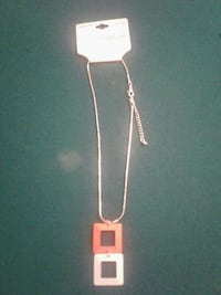 silver necklace with orange and grey square pendants Mechanicsville, 20659