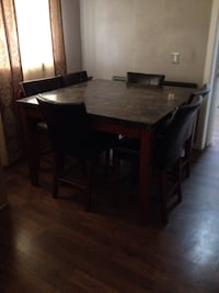 Stone dining table set with chairs leather Menifee, 92587