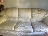 LEATHER SOFA, WHITE, GOOD CONDITION PITTSBURGH