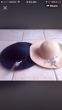 Pair of black and white dressy summer hats
