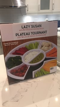SEALED BRAND NEW- Lazy Susan with 5 porcelain serving pieces