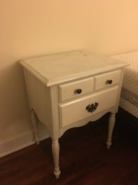 white wooden 2-drawer nightstand Alexandria