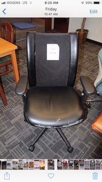 black leather padded rolling armchair Oakville, L6L