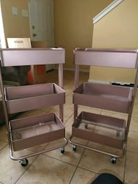 two gray and brown wooden shelves Mission, 78572