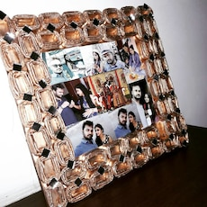 brown glass photo frame