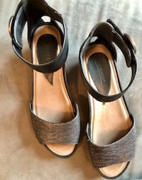 pair of brown leather open toe ankle strap heels San Rafael, 94903