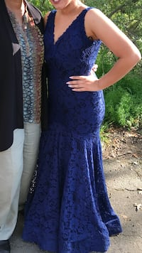 Navy lace mermaid style prom dress. originally bought for $500