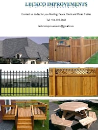 Fence, Roofing, deck and picnic table