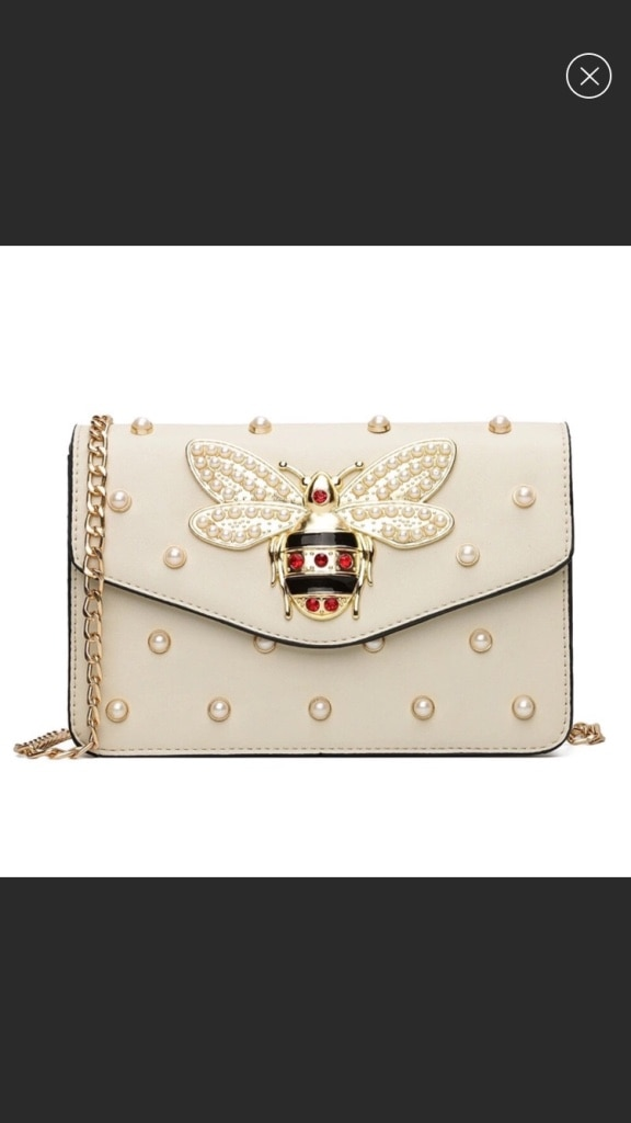 Photo New Women white bee pearl shoulder bag crossbody