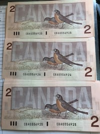 2 dollar banks  notes at 10.00 apiece if you buy 10 I will sell 10/75.00 Edmonton, T5T 0L5