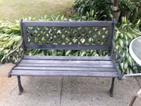 black metal bench with two brown wooden frames West Babylon, 11704
